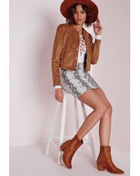 Missguided - Brown Collarless Suede Jacket Tan - Lyst