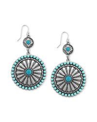 Jessica Simpson | Metallic Rhodiumplated Turquoisecolored Stone Double Drop Disk Earrings | Lyst