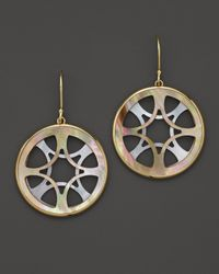 Ippolita | Metallic 18K Gold Polished Rock Candy Carved Layers Medium Circle Earrings In Brown Shell And Mother-Of-Pearl | Lyst