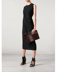 Stella McCartney Red Faux Leather Waverley Patchwork Clutch