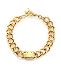 Michael Kors | Metallic Padlock Logo Plaque Curb Chain Necklace | Lyst