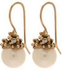 Ruth Tomlinson | Metallic Gold Diamond Encrusted Pearl Drop Earrings | Lyst