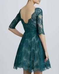 Monique Lhuillier Blue Lace Ruched Cocktail Dress