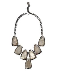 Kendra Scott - Metallic 'harlow' Necklace - Gunmetal/ Mirror Rock Crystal - Lyst