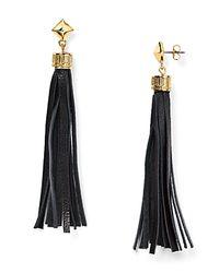 BaubleBar Black Leather Tassel Drop Earrings