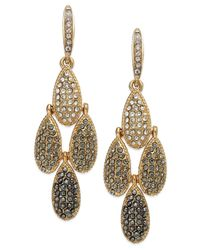 INC International Concepts | Metallic Gold-tone Pave Crystal Teardrop Chandelier Earrings | Lyst