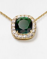 "Kate Spade | Green Basket Pave Pendant Necklace, 16"" | Lyst"