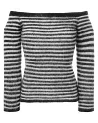 Saint Laurent - Black Off Shoulder Sweater - Lyst