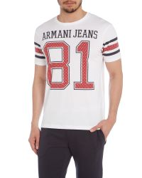Armani Jeans | White Regular Fit Slogan Print Crew Neck T-shirt for Men | Lyst