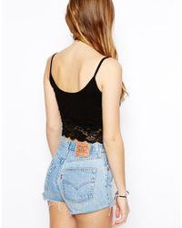 ASOS - White Crop Top With Lace Trim - Lyst