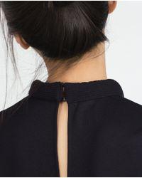 Zara   Blue Funnel Neck Top   Lyst