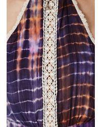 Missguided - Multicolor Tie Dye Crochet Trim Playsuit Multi - Lyst