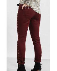 Violeta by Mango Red Stud Detail Slim Fit Jeans