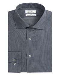 Calvin Klein | Black Ck Steel Slim Fit Micro Performance Dress Shirt for Men | Lyst