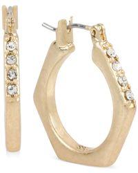 Kenneth Cole | Metallic Gold-tone Crystal Hoop Earrings | Lyst