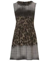 Betty Barclay Brown Printed Crepe Dress