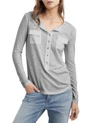 Velvet By Graham & Spencer | Gray Cotton Slub Henley Top | Lyst