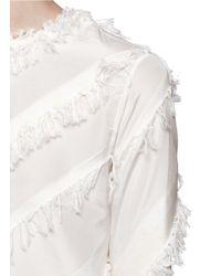 Ports 1961 White Diagonal Fringe Stripe Cotton-silk Top