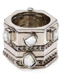 Rebecca Minkoff - Metallic Hexagon Stacked Box Ring - Lyst