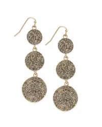 INC International Concepts | Metallic 12k Goldplated Black Diamond Pave Triple Disc Earrings | Lyst