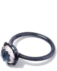 Larkspur & Hawk | Oxidised Silver Bella Blue Quartz Stacking Ring | Lyst