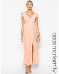 ASOS - Pink Maxi Dress With Wrap Front - Lyst