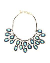 Elizabeth Cole Blue Anusha Gold-Plated, Swarovski Crystal And Cabochon Necklace