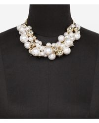 Express | White Pearl and Metal Bauble Necklace | Lyst