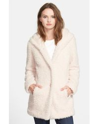 Jessica Simpson Pink Hooded Faux Fur Coat