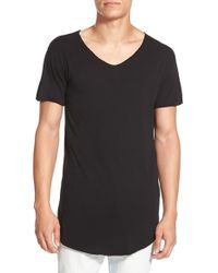 Alexander Simai | Black 'vu Neck' Elongated T-shirt for Men | Lyst