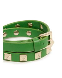 Valentino | Green 'rockstud' Double Wrap Leather Bracelet | Lyst