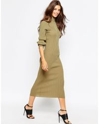 Daisy Street - Natural Ribbed Roll Neck Midi Dress - Lyst