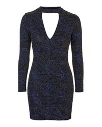 TOPSHOP | Blue Neck Band Plunge Glitter Dress | Lyst