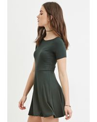Forever 21 | Green Micro-ribbed Skater Dress | Lyst