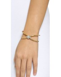 Giles & Brother - Metallic Skinny X Knot Pave Cuff Bracelet - Gold - Lyst