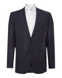 Armani Blue Wool Check Regular Fit Jacket for men