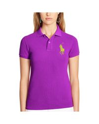 Polo Ralph Lauren | Purple Skinny-fit Big Pony Polo Shirt | Lyst