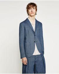 Zara | Indigo Blue Blazer for Men | Lyst