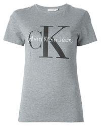 Calvin Klein Jeans Gray Logo Print T-shirt
