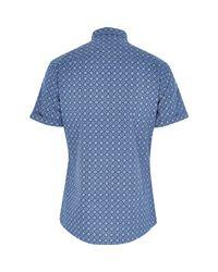 River Island Blue Tile Print Short Sleeve Shirt for men