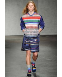 James Long Blue Mesh Technofabric Sweatshirt for men