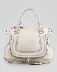 Chloé Marcie Large Shoulder Bag Off White