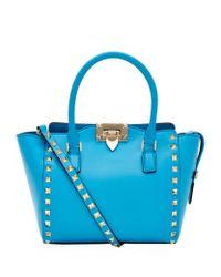Valentino Blue Mini Rockstud North/South Tote