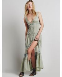 Free People   Green Victoria Buttonfront Maxi   Lyst