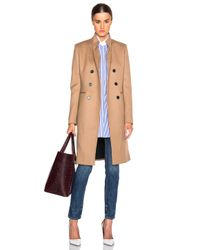 Victoria Beckham Natural Wool Twill Double Breasted Coat