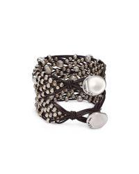 Uno De 50 - Metallic Tif Taf Beaded Leather Bracelet - Lyst