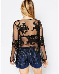 ASOS - Black Festival Top With Embroidery And Fringing - Lyst