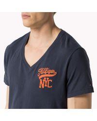 Tommy Hilfiger   Blue Cotton V-neck T-shirt for Men   Lyst