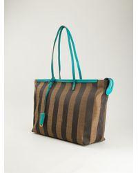 Fendi - Brown Pequin 'Roll' Bag Tote - Lyst