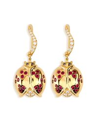Aurelie Bidermann | Metallic Diamond And Ruby Ladybug Earrings | Lyst
